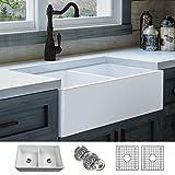 LUXURY 33 inch Modern Farmhouse Ultra-Fine Fireclay Kitchen Sink in...
