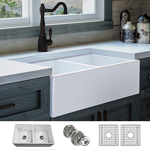 LUXURY 33 inch Modern Farmhouse Ultra-Fine Fireclay Kitchen Sink in White, 50/50 Double Bowl, Flat Front, includes 2 Grids and 2 Drains, FSW1003 by Fossil Blu