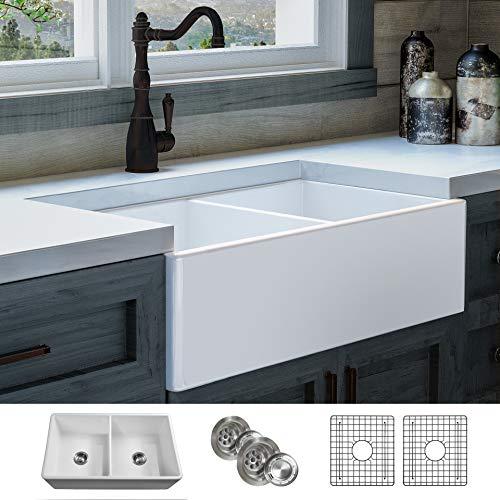 LUXURY 33 inch Modern Farmhouse Ultra-Fine Fireclay Kitchen Sink in White, 50/50 Double Bowl, Flat...