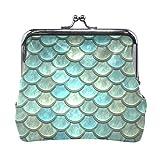 Monedero de piel con diseño geométrico de escamas de pescado, bolso de mano