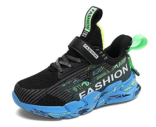 SMajong Scarpe da Ginnastica per Bambini Scarpe da Atletica Leggera per Bambini Mesh Traspirante Scarpe da Corsa Moda Casual Sneakers Ragazzi Ragazze (Nero 36EU)
