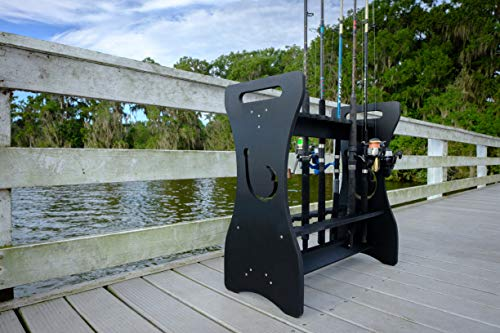 Sea Racks- Black- Hook Design - Store and Organize up to 24 Fishing Rods and Reels, PVC Composite Indoor and Outdoor Rod Storage Stand