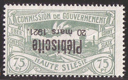 Goldhahn Oberschlesien Nr. 38K postfrisch, geprüft + signiert kopfstehender Aufdruck Briefmarken für Sammler