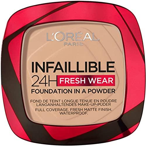 L'Oréal Paris Polvos Compactos Mate Infalible 24H, Larga Duración, Cobertura Media-Alta, Resistente al Agua, Tono: 130 True Beige, 9 g