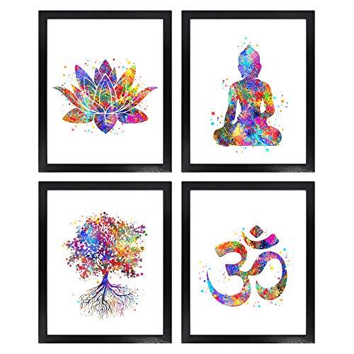 Dignovel Studios Unframed (Set of 4) 8X10 Watercolor Yoga Art Print Set Lotus Flower Om Symbol Buddha Tree of Life Inspirational Zen Wall Art Print Set dnc5