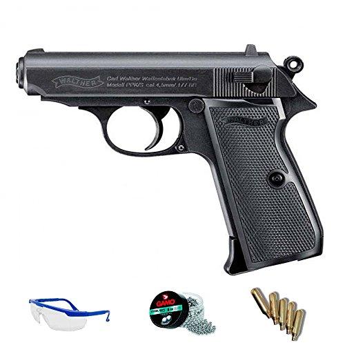 PACK pistola de aire comprimido Walther PPK/s - Arma de CO2 y balines BBs (perdigones de acero) FULL METAL <3,5J