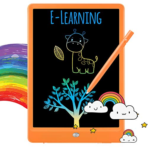 TEKFUN LCD Writing Tablet Doodle Board, 10inch Colorful Drawing Tablet Writing Pad, Girls Gifts Toys for 3 4 5 6 7 Year Old Girls Boys (Orange)