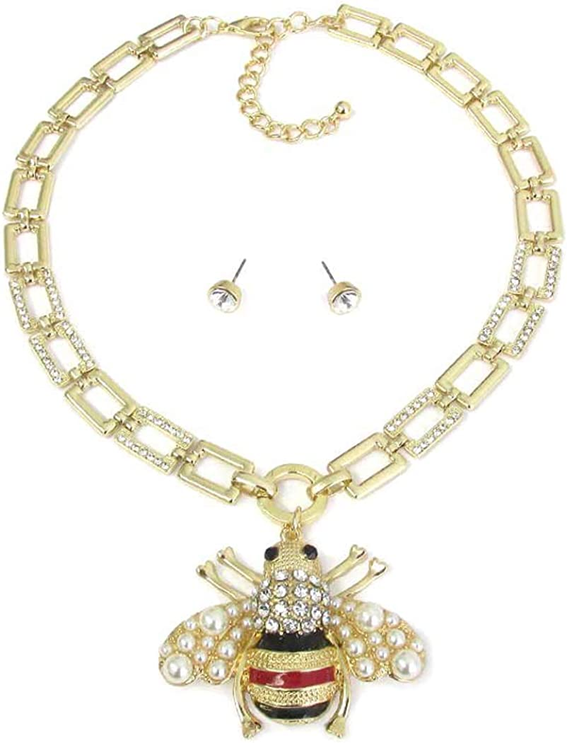 Fashion Jewelry ~ Crystal and Faux Pearl Bee Pendant Goldtone Necklace and Earrings Set for Women Teens Girlfriends Birthday Gifts