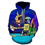 DCSLJXL Kapuzenpullover Hoodie 3D Druck Kapuzenpulli Unisex Kapuzen-Sweatshirt Pullover Kapuzenjacke Trendy lässig Spongebob-XXXL