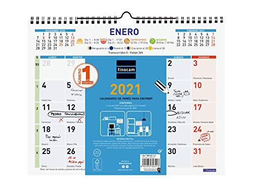 Finocam - Calendario de pared 2021 Escribir Color Español