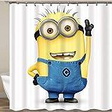 PePaa Gelbe Duschvorhänge Boshafte Minions Serie Duschvorhänge Badvorhang Polyester Wasserdichter Badvorhang 180X200CM