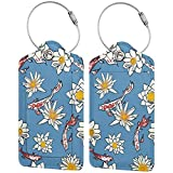Colorido gatito Ccarp Flower Lage Tags Bolsa de piel sintética con diseño de etiquetas de viaje con cubierta de privacidad con bucles de acero
