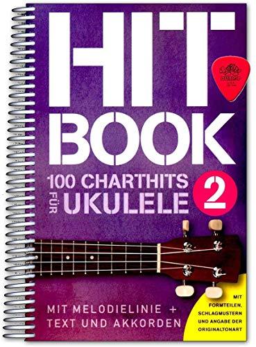 Hitbook 2-100 Chart Hits für Ukulele (mit Texten und Akkorden) - Singbook mit Dunlop Plek - Verlag Bosworth BOE7899 9783865439949