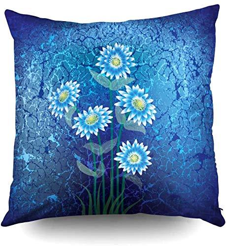 Funda de almohada de 45,7 x 45,7 cm, ilustración floral abstracta con flores azules sobre fondo agrietado, fundas de almohada decorativas cuadradas para sofá o dormitorio