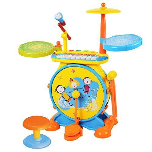 BAOLI 2-en-1 Los niños del Instrumento Musical Set De Bateria Electronica Infantil Kid w / Teclado de Piano y el micrófono y Las heces