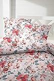 Primera Edelflanell Biber Bettwäsche 135x200 Blumen Koralle Rose 174125-72