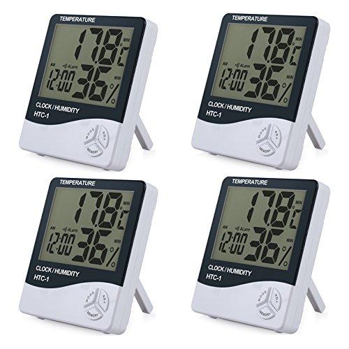 eSynic 4 Stücke Innen LCD Digital Thermometer Hygrometer mit LCD Display Temperaturmesser Feuchtigkeitmessgerät und Systemzeit 12 Stunden/ 24 Stunden mit Alarm