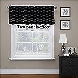Cortina de ventana con cenefa abstracta, rayas coloridas, curvas, pequeñas, oscurecidas, sólidas, para cocina, dormitorio, sala de estar, 106,7 x 45,7 cm