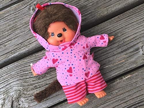 Puppenkleidung handmade für MONCHICHI Gr. 20 cm Bekleidung Kapuzenshirt Hoodie + Hose Kleidung rosa pink Herzchen