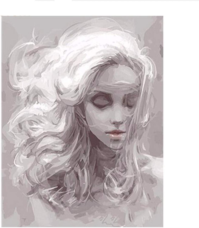 Waofe Graues Mädchen Diy Digital Malen Malen Malen Nach Zahlen Kits Acrylmalerei Mit Inneren Holzrahmen Für Einzigartige Kinder Geschenk Artwork B07Q4HT8XV | Das hochwertigste Material  56b201