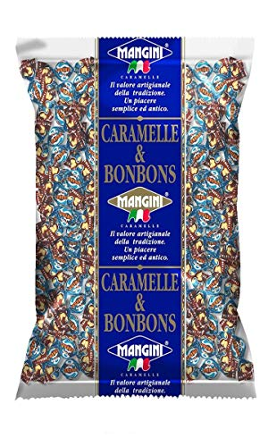 Caramelle Mini Gelées Linea Bye Bye Mangini Kg 1 - Piccole gelatine incartate con succo di frutta - Gusti assortiti Arancia, Limone, Mirtillo, Fragola e Lampone