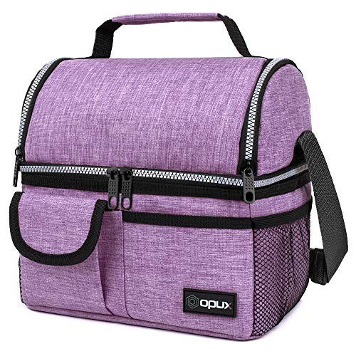 OPUX Insulated Dual Compartment Lunch Bag for Women | Double Deck Reusable Lunch Pail Cooler Bag...