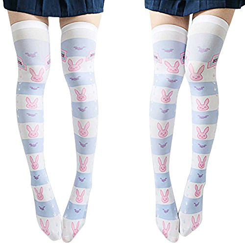 SzBlaZe Women's Cute Kawaii Thin Anime Print Over the Knee Socks Stockings (Pack of 1 Pair), D.va Print 2, One Size For 35 to 38
