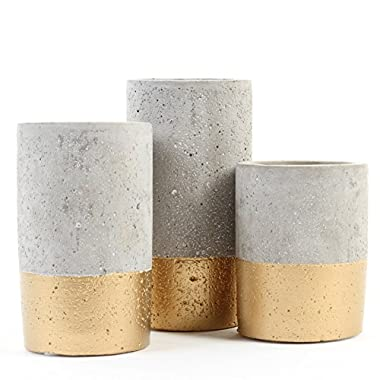 Koyal Wholesale Concrete Effect Cylinder Vase Centerpiece Set of 3 for Concrete Wedding Centerpieces, Concrete Wedding Decorations, Cement Desk Accessories (3, 4 , 5 , 6 )