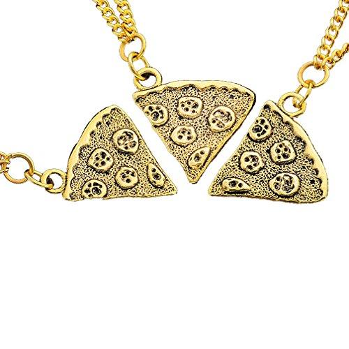 MJARTORIA Freundschaftsketten für 4 Personen Mädchen oder Jungs Antik Gold Farbe Pizza Halskette Geschenk Kette (3 PCS Gold)