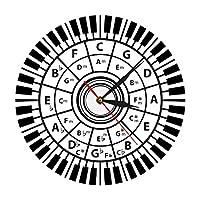 壁掛け時計 掛け時計 ウォールクロック 連続秒針 北欧 おしゃれ 時計 ピアノの鍵盤壁時計ミュージシャン五度圏音楽和声理論音楽研究作曲家教室の壁の装飾現代の壁時計 インテリア サイレントムーブメント カチッと音がしない ホーム ベッドルーム キッチン 書斎 オフィス おしゃれ 部屋飾り 新築祝い 結婚祝い 贈り物 掛け時計