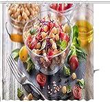 Cortina de ducha Ensalada vegana de garbanzos saludables Dieta Vegetariana Comida vegana Vitamina Snack Estampado gráfico Tela de poliéster Juegos de decoración de baño con ganchos 36 X 72 Pulgadas