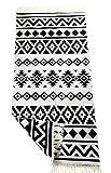Tappeto passatoia con frange e motivo utilizzabile su entrambi i lati, stile retrò boho, etnico, marocchino, Berber, lavabile, vintage, modello Karthago 135 x 65 cm/90 x 60 cm (nero/ecru, 90 x 60 cm)