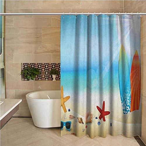 N\A Cortina de Ducha Floral Conchas Marinas Tema Festivo Gafas de Sol Playa Verano Tabla de Surf Día Soleado Estrella de mar Conchas Marinas Multicolor