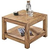 FineBuy Couchtisch Massiv-Holz Akazie 60 x 60 cm Wohnzimmer-Tisch Design dunkel-braun Landhaus-Stil Beistelltisch Natur-Produkt Wohnzimmermöbel Unikat modern Massivholzmöbel Echtholz...