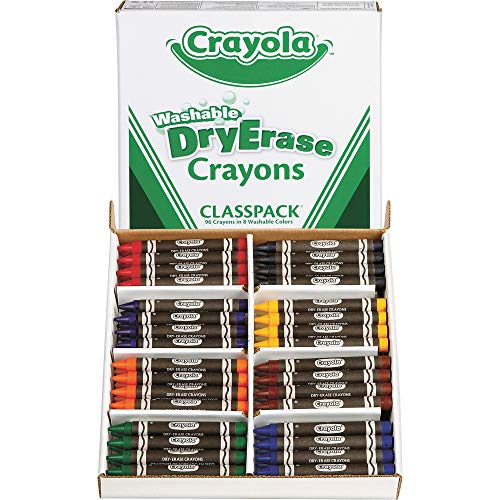 Crayola Dry Erase Crayons, Classpack Crayons, Assorted Colors, 96 Count (98-5208)