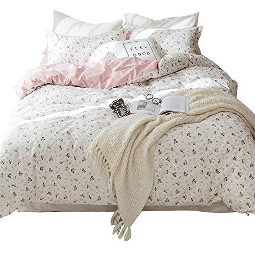 HIGHBUY Floral Kids Duvet Cover Set Full Queen Cotton Pink Comforter Covers Lightweight Soft for...