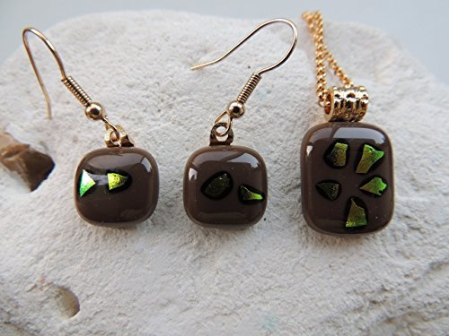 """0.76""""x0.6 brown fused glass necklace 0.52"""" square grown fused glass drop earrings jewelry set dichroic necklace and earrings by home for glass lovers"""