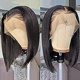 Bob Perruque Femme Vrai Cheveux Courts VIPbeauty Bresiliens Naturelle Cheveux Humains Vierges Lisse lace front Noir Naturel-8 Pouces