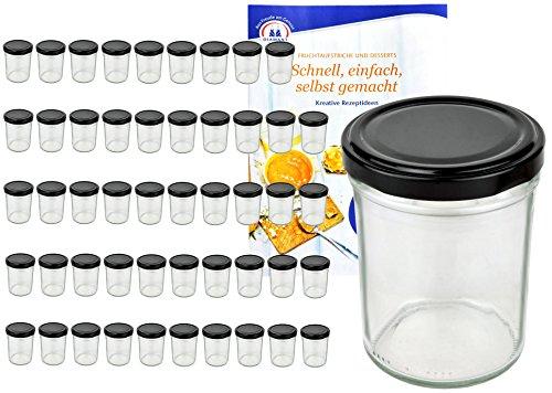 MamboCat 50er Set Sturzgläser 230 ml Hoch Deckelfarbe schwarz to 66 inkl. Diamant Gelierzauber Rezeptheft, Marmeladengläser, Einmachgläser, Einweckgläser, Gläser
