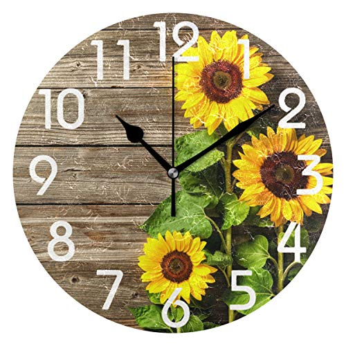 Naanle Stylish 3D Beautiful Sunflowers Vintage Wood Print Round Wall Clock, 9.5 Inch Battery Operated Quartz Analog Quiet Desk Clock for Home,Office,School