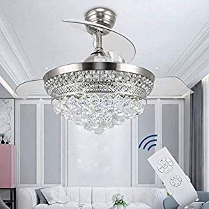 Crystal Chandelier Fandelier Chrome Ceiling Fan 42 Inch with Retractable invisible Blades and 3 Changing LED Light Color Ceiling Fan Light for Indoor, Living Room, Dining Room, Bedroom