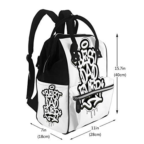 Diaper Backpack Bags Best Dad Ever Tag Graffiti Style Label Blackboard Travel Nappy Bags