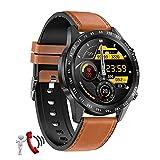 QFSLR Reloj Inteligente Smartwatch con Llamada Bluetooth Monitor De Frecuencia Cardíaca Monitor De Presión Arterial Reloj Deportivo Impermeable IP67 Fitness Tracker,Marrón