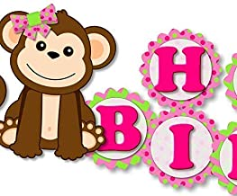 sock monkey happy birthday banner