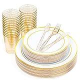 150 Multi-Uso Piezas - 50 Elegante Platos Plástico Duro con Borde Oro (2 Tamaños)| 25 Cucharas 25...
