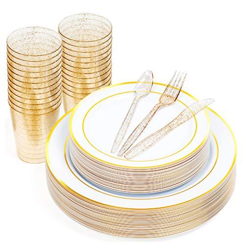 150 Piezas Vajilla de Plástico Duro para Fiestas - 25 Platos Blancos con Borde Dorado (2 Tamaños), 75 Cubiertos con Brillo Dorado y 25 Vasos - Resistente y Reutilizable.