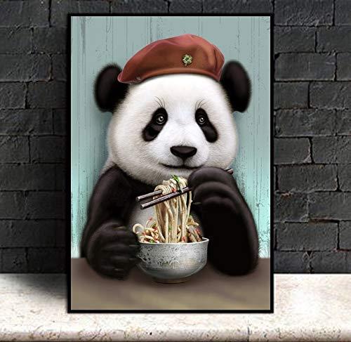 YuanMinglu Lindo Panda de Dibujos Animados Comiendo Fideos impresión de póster Animal Lienzo Pintura jardín de Infantes habitación de bebé Arte de la Pared Lienzo Pintura sin Marco 40x60 cm