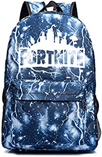 Unisex Casual Backpacks Nylon Satchel Fortnite Backpack Students School Bag Lightning Blue