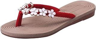 Women Girls Ladies Summer Flat Slippers Moccasins,Flower Flip Flops Open Toe Indoor Outdoor House Beach Sandals Women's sandals