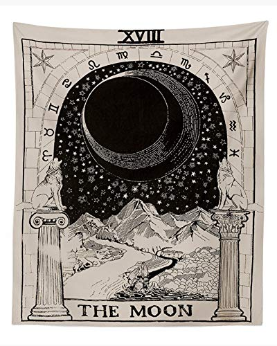 Amknn Tarotkarte Tapisserie Tarot-Wandteppich Der Mond Mittelalter Europa Divination Tapisserie Geheimnisvolle Wandteppich Heimdekoration(150x130cm)
